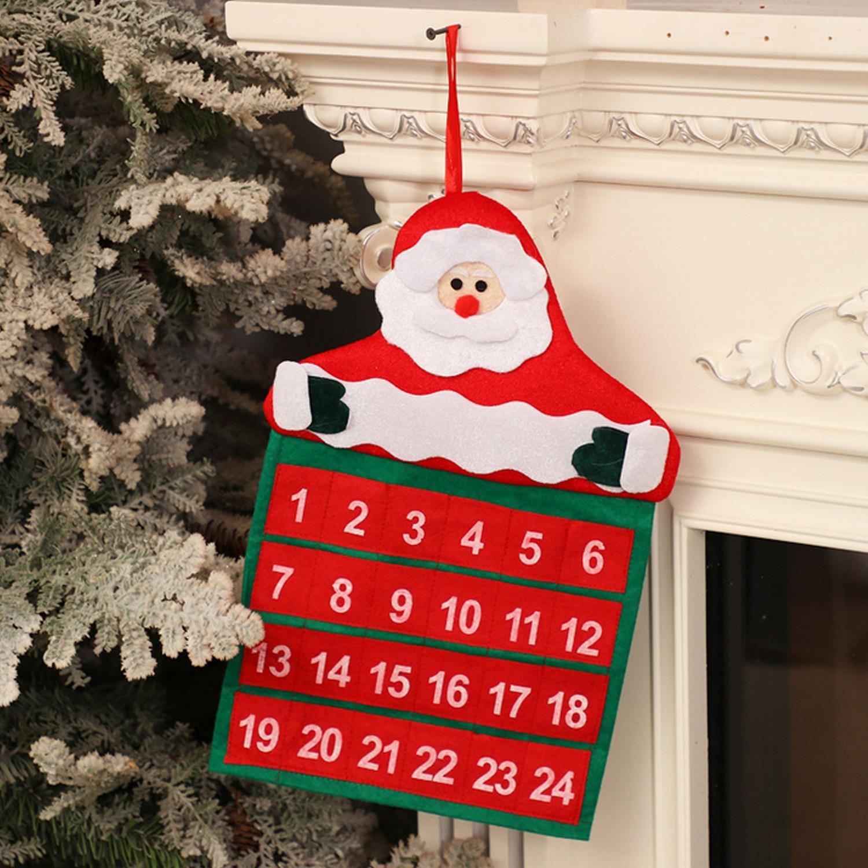 Cuenta atrás de Papá Noel lindo reutilizable para Calendario de Adviento de Navidad con bolsillos de 24 días para niños decoraciones de Navidad en casa