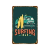 beach surfing sign tin painting vintage warning metal sign coffee shop background wall decor yard sign beach surfing metal signs