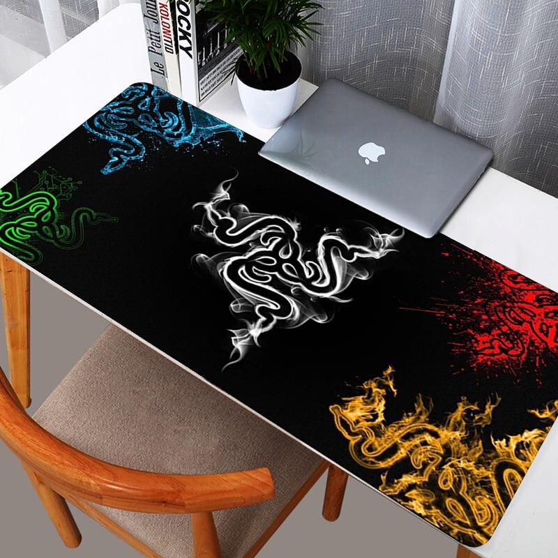 Коврик для мыши Razer, игровые аксессуары, большой компьютерный коврик для мыши 900x400, игровой коврик из натурального каучука для клавиатуры CS GO...
