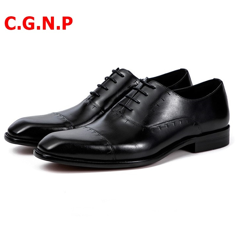 Купить с кэшбэком C.G.N.P Men Dress Shoes Genuine Leather Shoes Imported Calf Leather Oxfords Formal Shoes Italian Three Joint Military Men Shoes