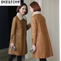 shzq sheepskin down jacket womens middle and long new leather jacket with detachable mink collar