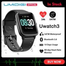 UMIDIGI Uwatch3 montre intelligente hommes femmes 5ATM étanche Fitness Tracker Sport bande fréquence cardiaque surveillance du sommeil pour Android IOS nouveau