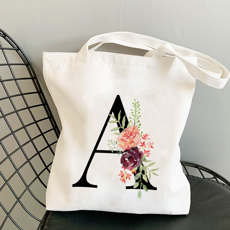 Summer New Flower Letter Bolsa Feminina Shoulder Canvas Bags Large Capacity Wild Messenger Bag Cute Fun Handbag