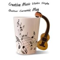in stock coffee tea milk stave cups with handle coffee mug novelty gifts creative music violin style guitar ceramic mug