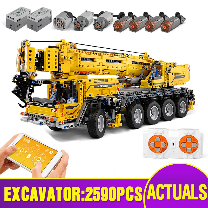MOULD KING 13107 RC APP Control High-tech Car The Mobile Crane MK II Model Kids Christmas Toys Gifts