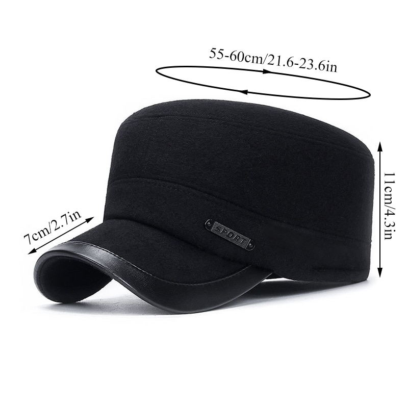 Comfortable Cotton Hat Thick Flat Top Hat Adjustable Woolen Hat Warm Flat Top Hat Men's Flat Top Hat