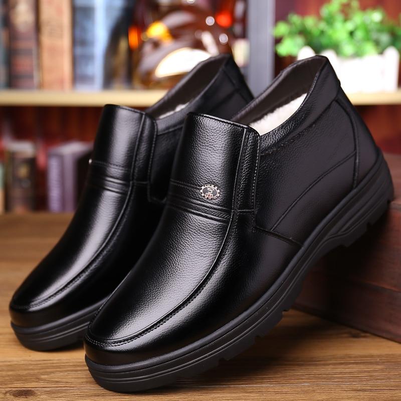 Zapatos de cuero genuino para hombre Botas de invierno 2019 zapatos cálidos de algodón para invierno frío cuero de vaca para hombre botines calzado masculino A1883