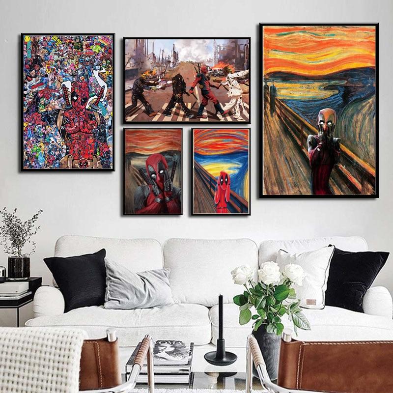 Póster de película de animé de superhéroe de Deadpool Scream 1 2 DC Marvel y cuadros artísticos de pared para la decoración del hogar y la sala de estar