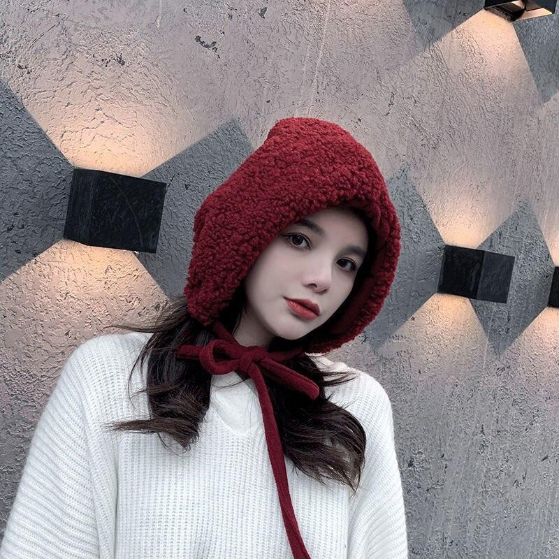 2020 Autumn Winter Women Woolen Blended Caps Hats Cute Fashion Girls Bobmer Ushanka Lace Up Hats