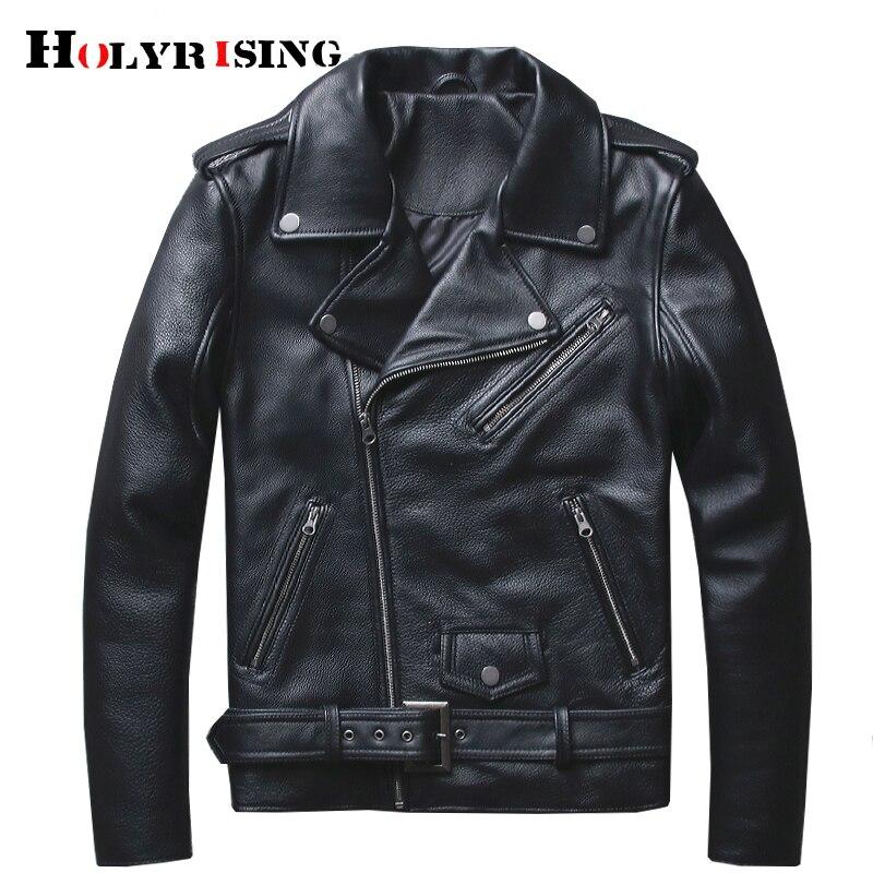Holyrising Men Genuine Leather Sheepskin Turn Collar Mens Jacket Leather Black Zipper Campera De Cuero Hombre Size S-4XL 18709-5