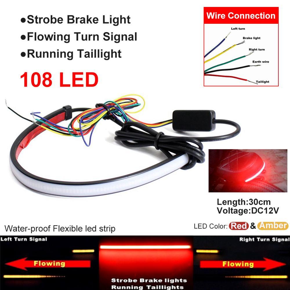 Motorcycle Led Tail Brake light Switchback Flowing Turn Signal Strip Monochrome Light
