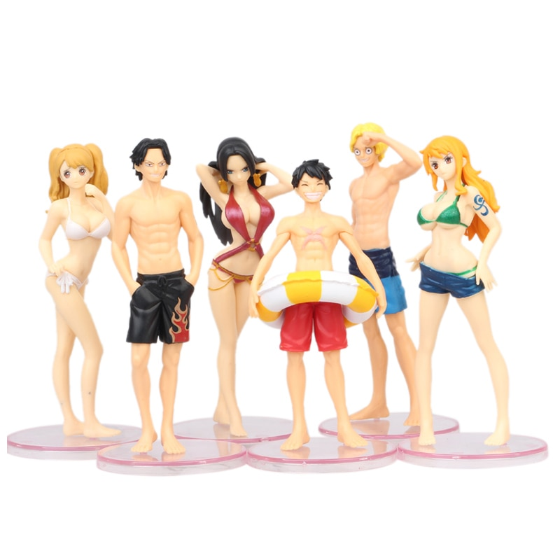 6 шт./лот, Цельный купальник с аниме, Луффи Ace игрушки Санджи и нами, Виви, мультяшная модель, кукла, ПВХ, фигурка, игрушка, коллекция, подарок
