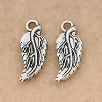 10pcs leaf charms pendants for jewelry making bracelet tibetan silver plated jewelry accessories diy handmade 20x8mm