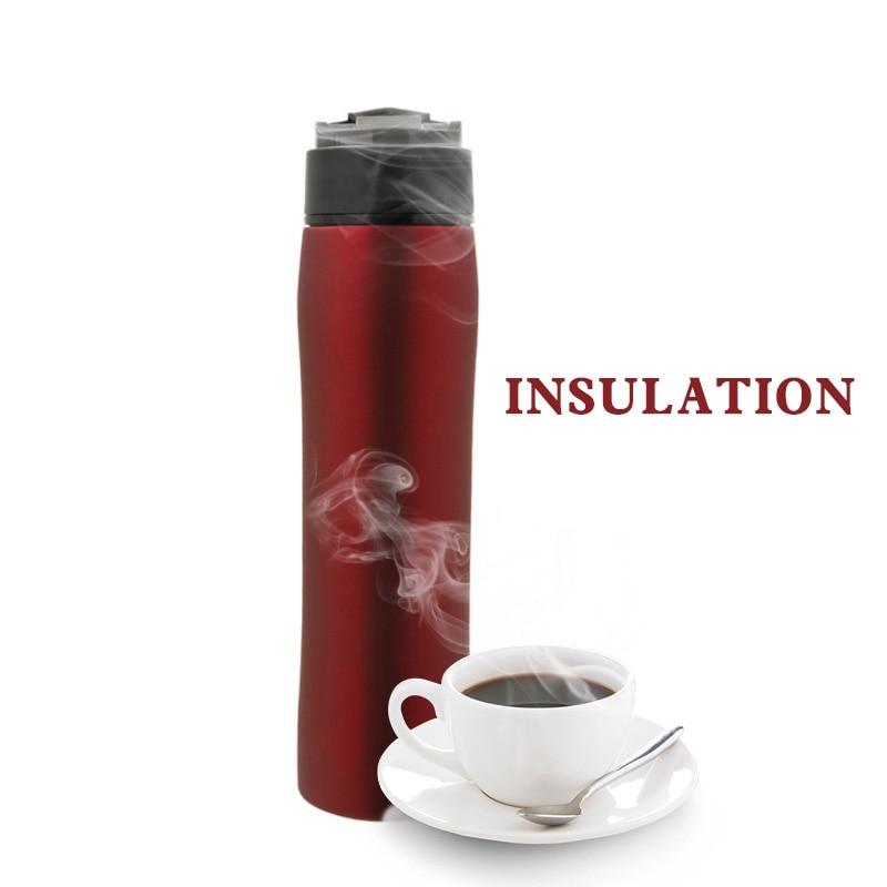 Criativo cafeteira portátil imprensa francesa pote isolamento frio prático filtro de aço inoxidável para chá e café