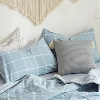 pure cotton simple japanese style yarn dyed washed cotton solid color plaid pillowcase striped cotton pillow cover cotton 48x74
