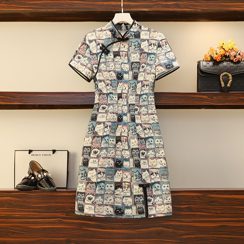 2021 Spring Summer New Korean Women's Clothing Retro Improved Cheongsam Ethnic Style Sexy Dress For Plump Girls Clothes Vintage