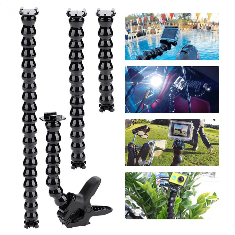 Multi-function Camera Flexible Clamp Arm Bracket Holder Mount for GoPro Hero 8/7/6/5/4/3+3/2 Action camera Neck Tripod Accessory portable 360 degree rotary backpack hat clip clamp mount for gopro hero 4 3 3 2 for sj4000 sj6000 at200 camera accessory