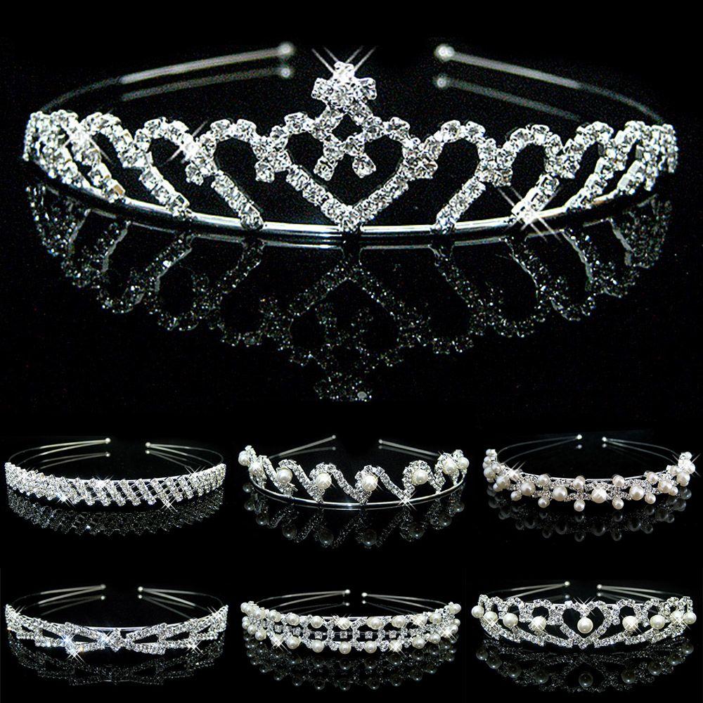 Tiaras de corona de cristal para niñas, Tiaras, diadema para niñas, corona para graduación, boda, accesorios para fiestas, joyería para el cabello