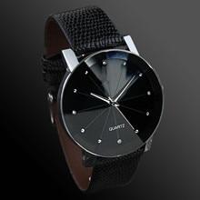 Fashion Casual Men Watches Black Leather Band Quartz Wristwatches Unisex No Brand Watch Cheap Price