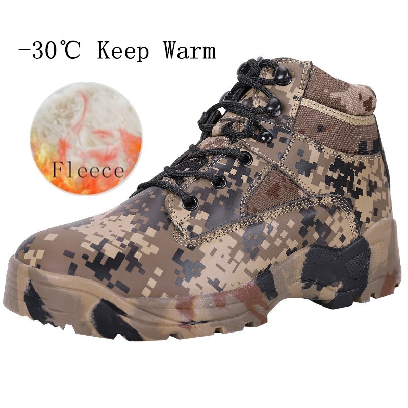 Invierno más terciopelo Cálido impermeable senderismo zapatos hombres exterior antideslizante escalada térmica ejército entrenamiento camuflaje táctico militar botas