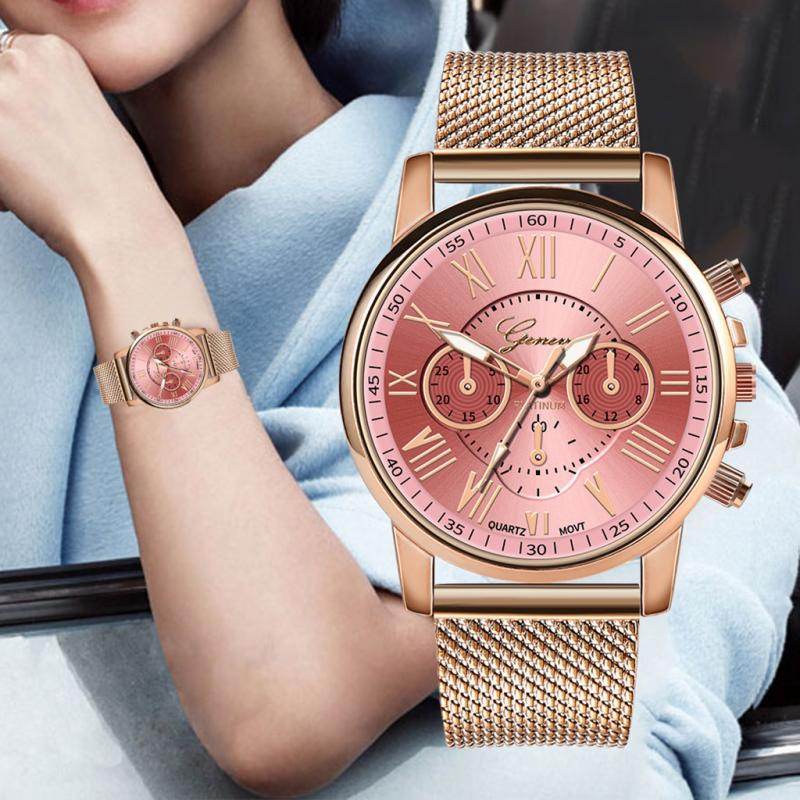 Women's Watch Fashion Brand Quartz Watch Silica Gel Mesh Belt Roman Numerals Lady Wristwatch Clock Relogio Feminino