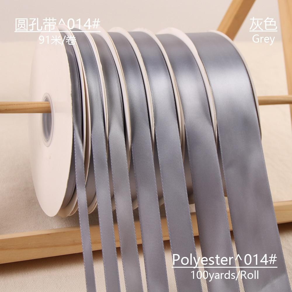 100 yardas/rollo de cintas de satén de una sola cara gris para decoración para fiesta de Navidad DE BODA 3mm-50mm DIY lazo artesanía cintas tarjeta regalo