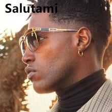 Une pièce carré hommes lunettes de soleil de luxe marque alliage rayure pilote plein air lunettes de soleil hommes Hip Hop Punk nuances nouveau Oculos Masculino