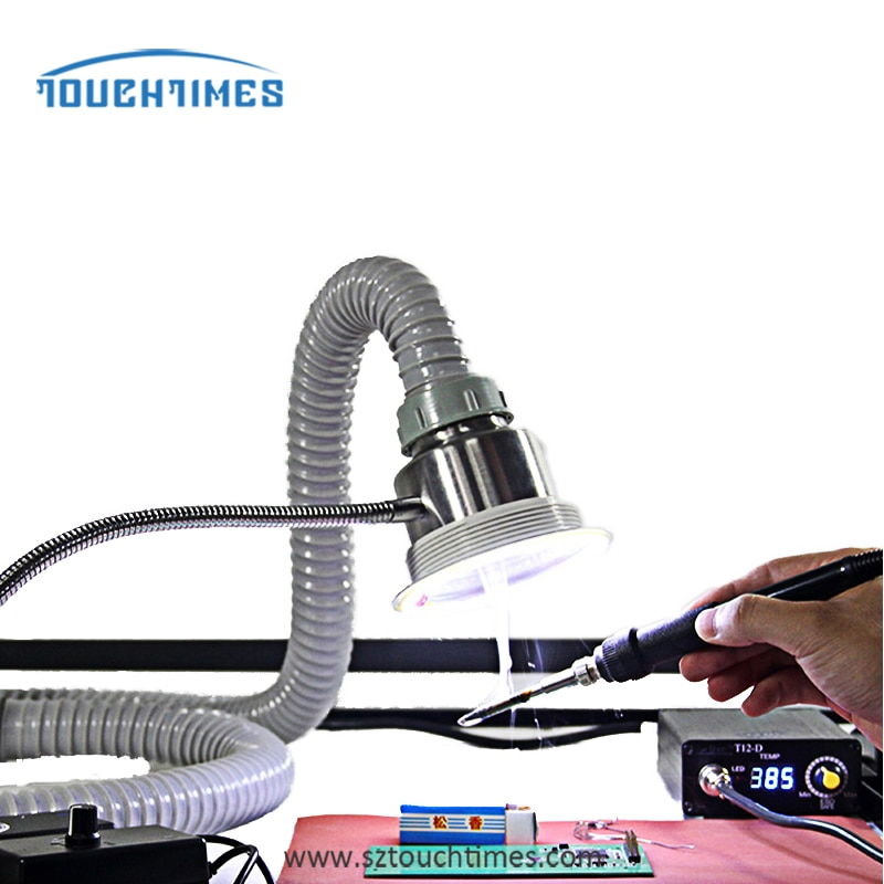 smoke exhauster instrument mobile phone maintenance fume extractor with light and adjustable suction