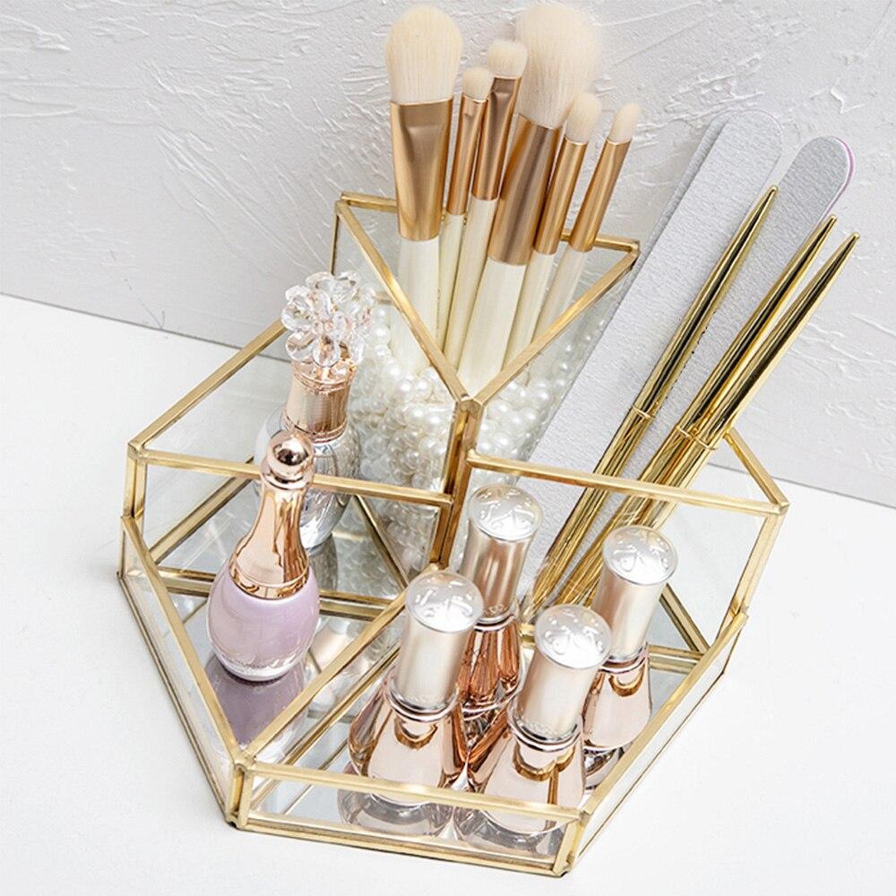 صندوق تخزين مستحضرات التجميل الزجاج الشفاف فرشاة للمكياج حامل فرشاة التجميل صندوق منظم سطح المكتب الحاجب قلم رصاص