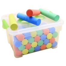 50pcs 2.5cm Big Fat Pastel Storage Box Sidewalk Chalk Set With Carry Box Washable Colored Chalk Makeup Tool Set