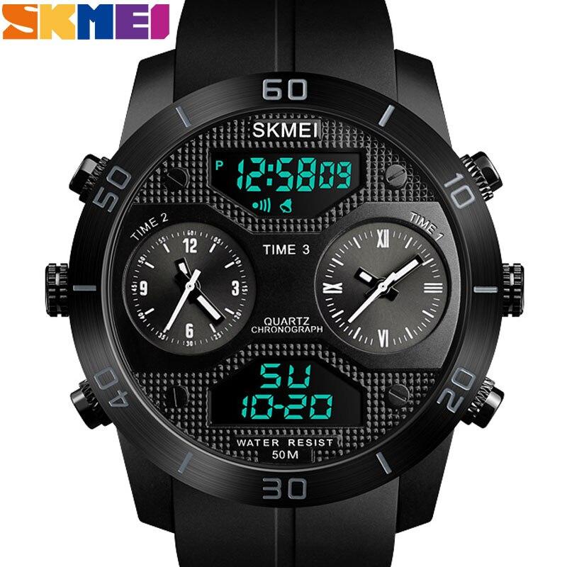 SKMEI-ساعة رياضية خارجية للرجال ، مقاومة للماء حتى 50 متر ، LED ، إلكترونية ، ستانلس ستيل ، شاشة مزدوجة