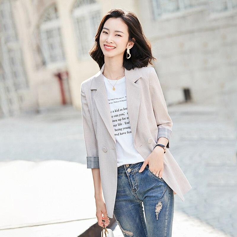 Pink Suits Jacket Women's Three-Quarter Sleeve Korean 2021 Summer New Temperament Leisure Thin Slim