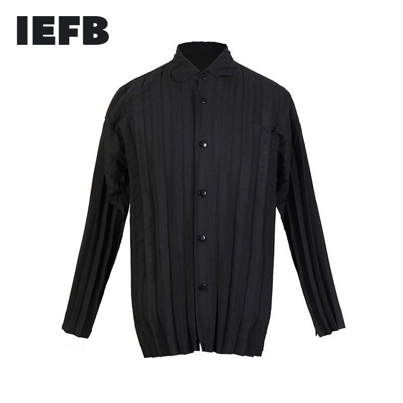 IEFB الرجال مطوي معطف رقيقة اليابانية الشارع الشهير موضة واحدة الصدر الأسود ملابس طويلة الأكمام مطوية النسيج القمم 9Y8528