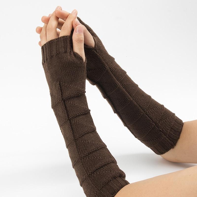 Вязаные перчатки без пальцев для мужчин и женщин, теплые длинные шерстяные рукавицы без пальцев, однотонные Модные женские теплые рукавицы