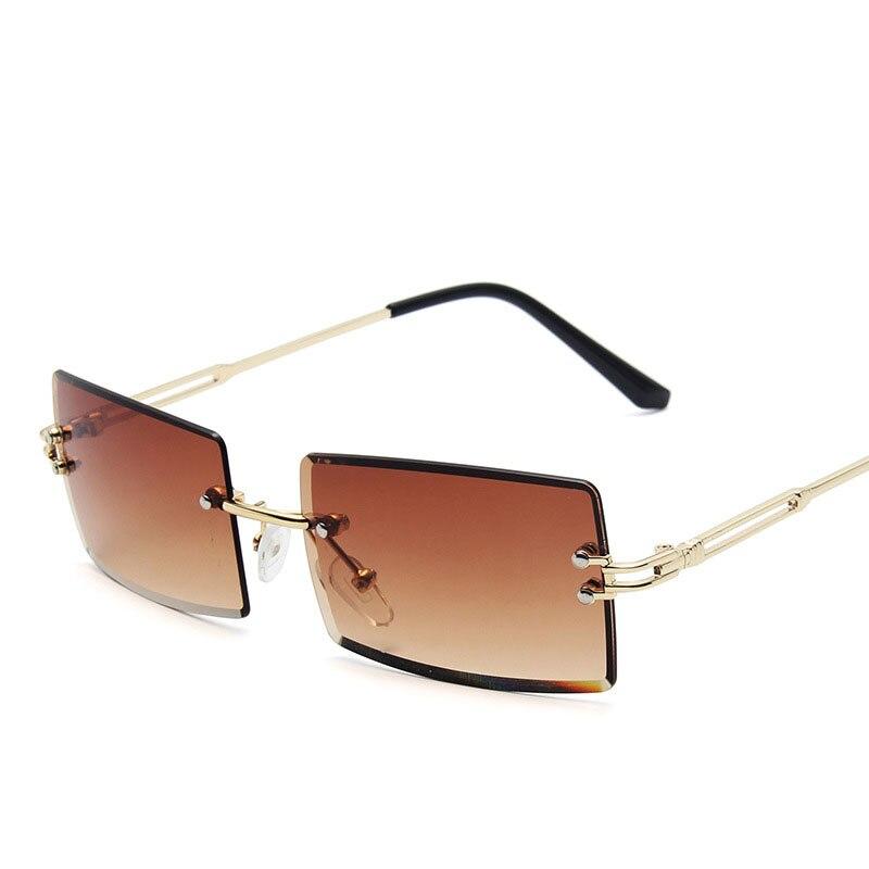 2021 new frameless cut-edge sunglasses men and women retro square gradient sunglasses trend street shooting glasses