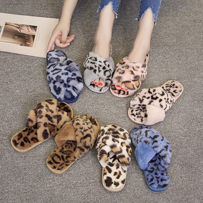 Winter Women House Slippers Warm Faux Fur Fashion Shoes Woman Slip on Flats Designer Ladies Furry Slippers Female Slides Indoor