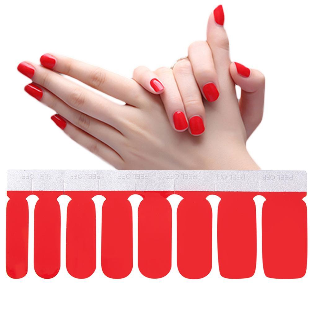 1 hoja de tiras de esmalte de uñas de doble extremo adhesivo de Color puro DIY pegatina de uñas envoltura