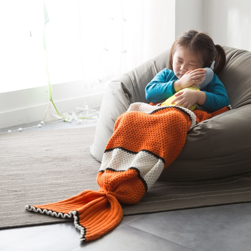 Baby Infant Fishtail Blanket Cute Girls Cartoon Pattern Wrappling Children Knitting Soft High Level