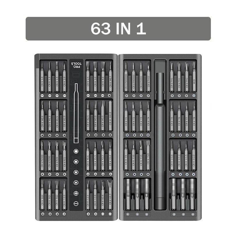 Инструменты для отвертки 63 в 1, магнитные сверла, прецизионные сверла Phillips Torx, шестигранные биты для iPhone, ПК, камеры, ремонта часов, ручные инс...
