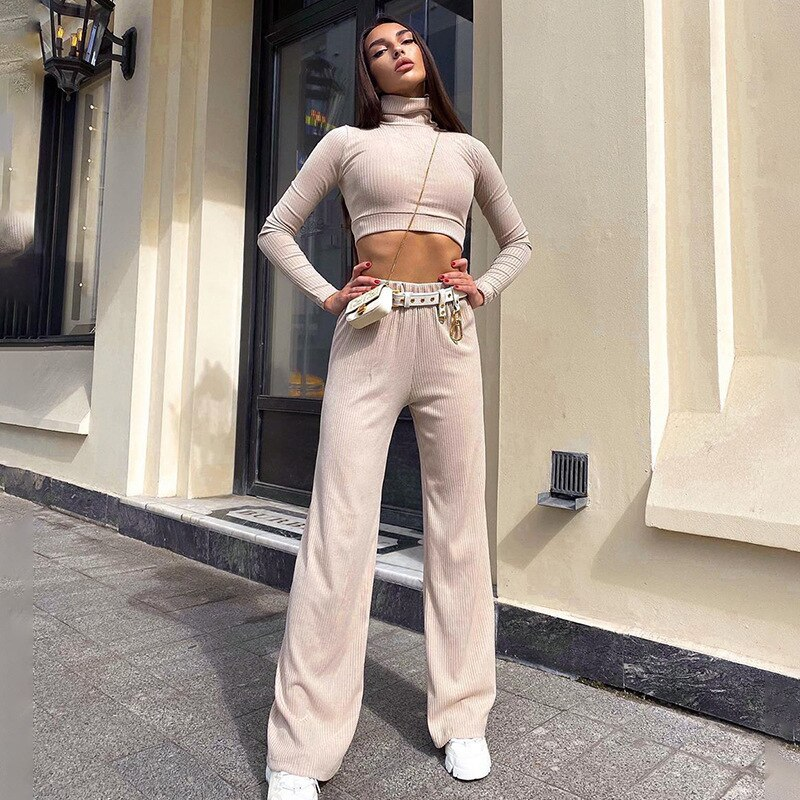 Wide Leg Pant and Crop Top Two Piece Set Long Sleeve Autumn Solid Casial Elegant Turtleneck Minimali