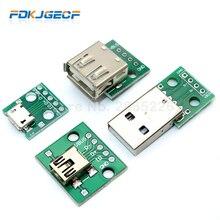 1 pièces Micro Mini USB USB mâle USB 2.0 femelle connecteur USB Interface à 2.54mm DIP PCB convertisseur adaptateur carte de sortie