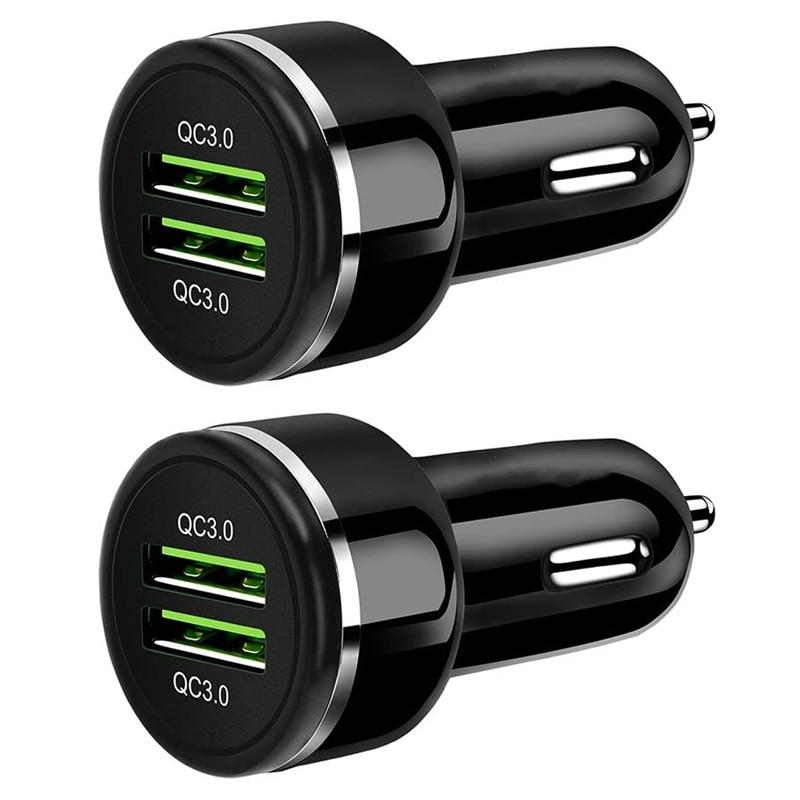 Cargador de coche, carga rápida 3,0, 48W 6A Dual QC3.0 USB adaptador de cargador rápido para coche Compatible con Galaxy S10 + Note 9, para iPhone Xs Max