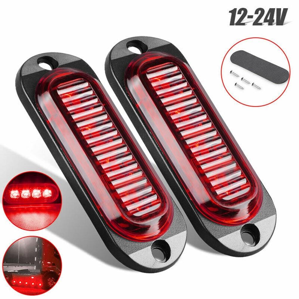 2pcs LED Side Marker Lights Red Clearance Trailer Truck RV LED Light Lamp Red Waterproof 12/24V Safety Warning Width Indicator