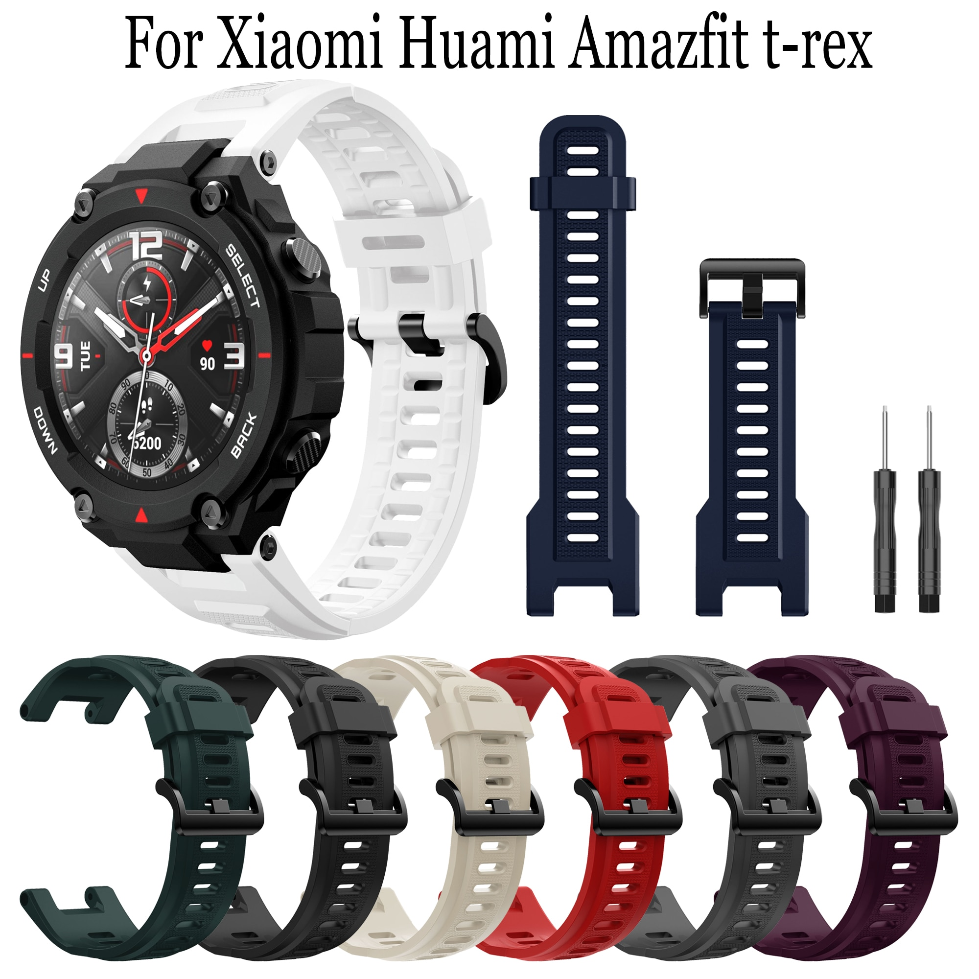 smart watch band for amazfit t rex pro silicone replacement bracelet accessories for amazfit t rex strap watchband with tool Silicone Wristband Straps Replacement Watchband Bracelet With Tool For Huami Amazfit T-Rex pro/T-Rex Smart Watch Adjustable band
