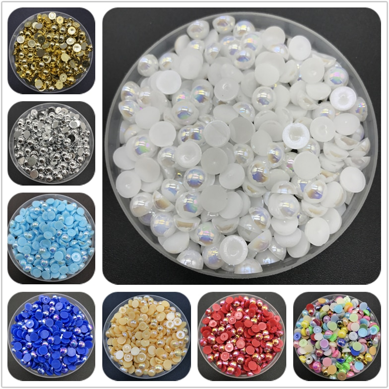 4mm 6mm 8mm 10mm ABS cuenta de perla semicircular plana posterior álbum de recortes cuentas para la fabricación de joyas perlas accesorios de ropa