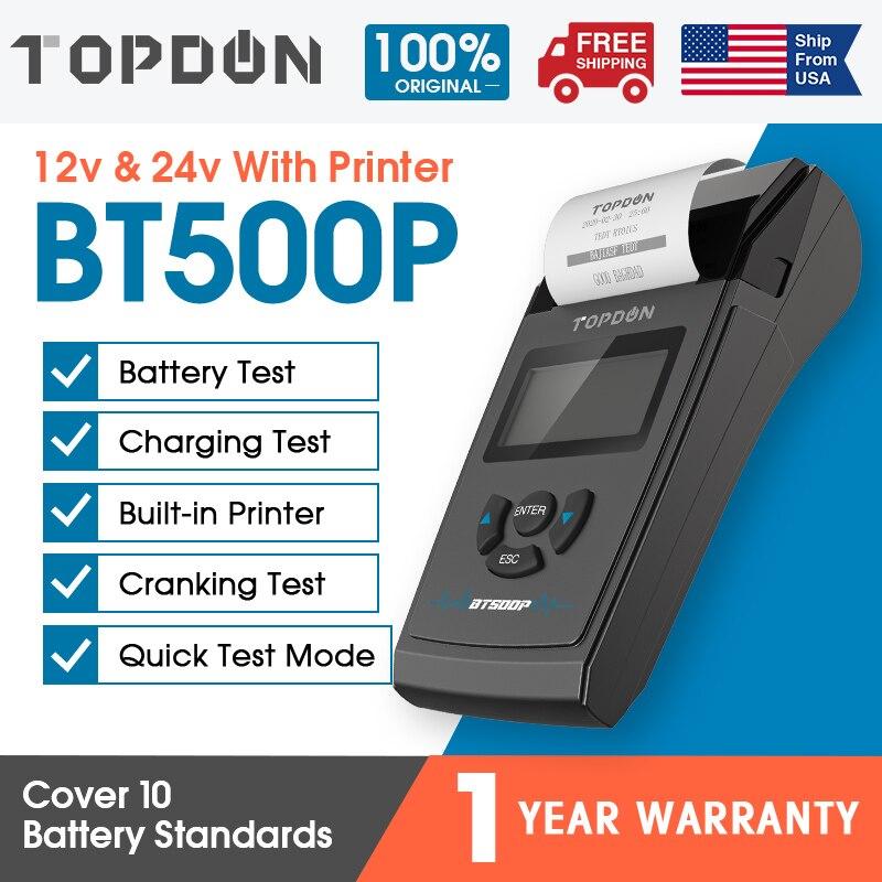 TOPDON BT500P 12V 24V Car Battery Tester 100-2000CCA Battery Analyzer Tester for Cars Trucks Cranking Charging Test Repair Tools