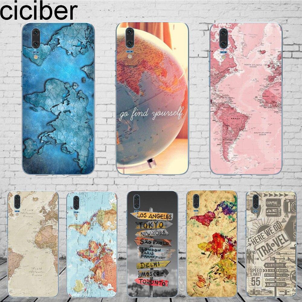 Чехол для мобильного телефона ciciber World Map, чехол для Huawei P20 P30 Lite Pro Honor 9 10 P9 P8 Lite 2017 P10 Plus, мягкий силиконовый чехол из искусственной кожи
