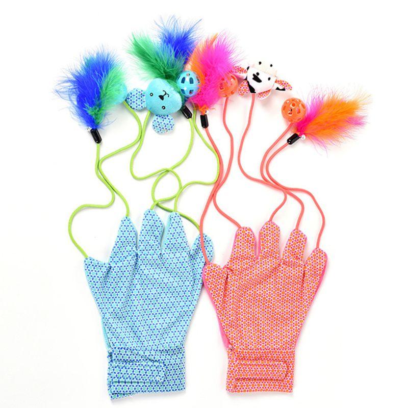 Guantes divertidos para mascotas interactivas, juguete multifunción para gatos, bonito y portátil, a la moda, con estampado de bloques de colores y felpa