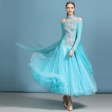 Blauw ballroom jurk standaard dans jurk voor dansen ballroom waltz dance kostuums foxtrot jurk danswedstrijd kostuum swing