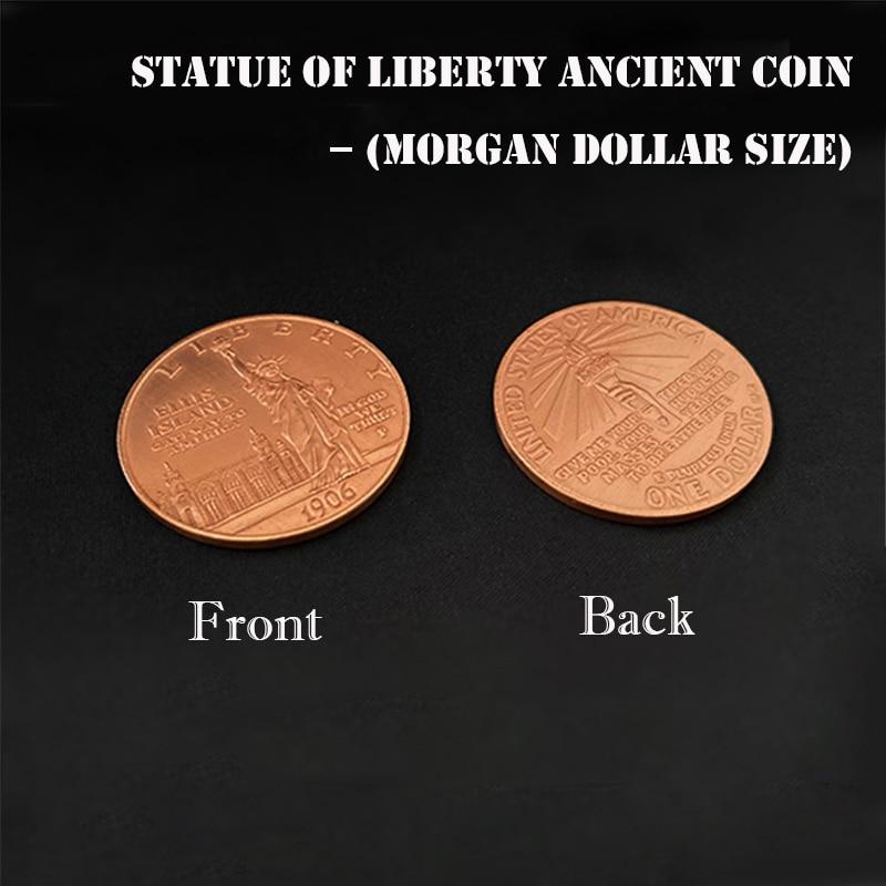 1 unidad Estatua de la libertad moneda antigua (tamaño del dólar de Morgan 3,8 cm, cobre) Moneda de trucos mágicos Primer plano ilusión truco Prop Fun